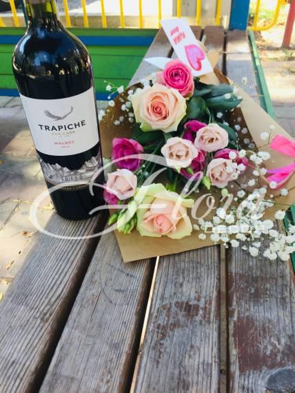 """Букет и вино """" Цветна любов"""""""